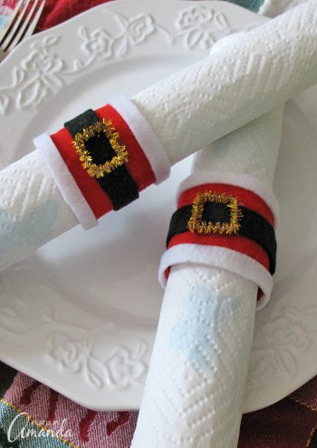 Santa's belly napkin rings, perfect for Christmas