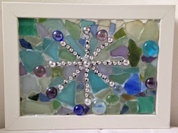 Create an easy winter themed mosaic on a glass picture frame!