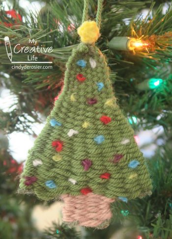 This woven tree ornament is made entirely of yarn (no glue!)