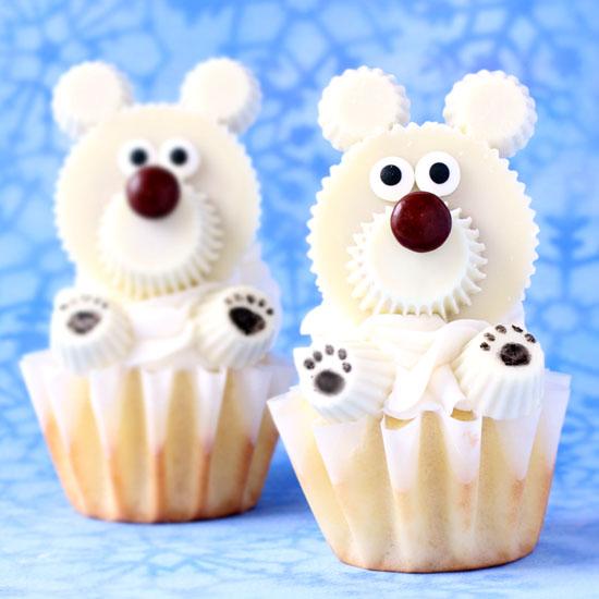 White Reese's Cup Polar Bear Cupcakes