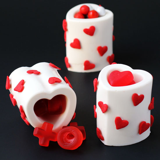Chocolate Heart Cups filled with Valentine's Day Candy