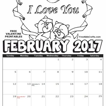 2017 Printable February Coloring Calendar