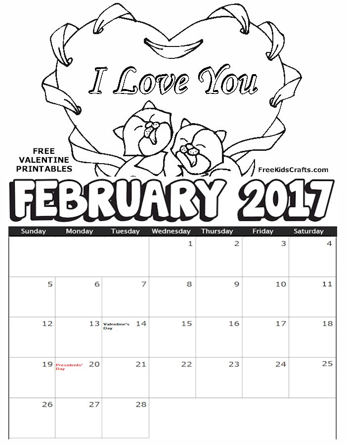 2017 Printable February Coloring Calendar Fun Family Crafts