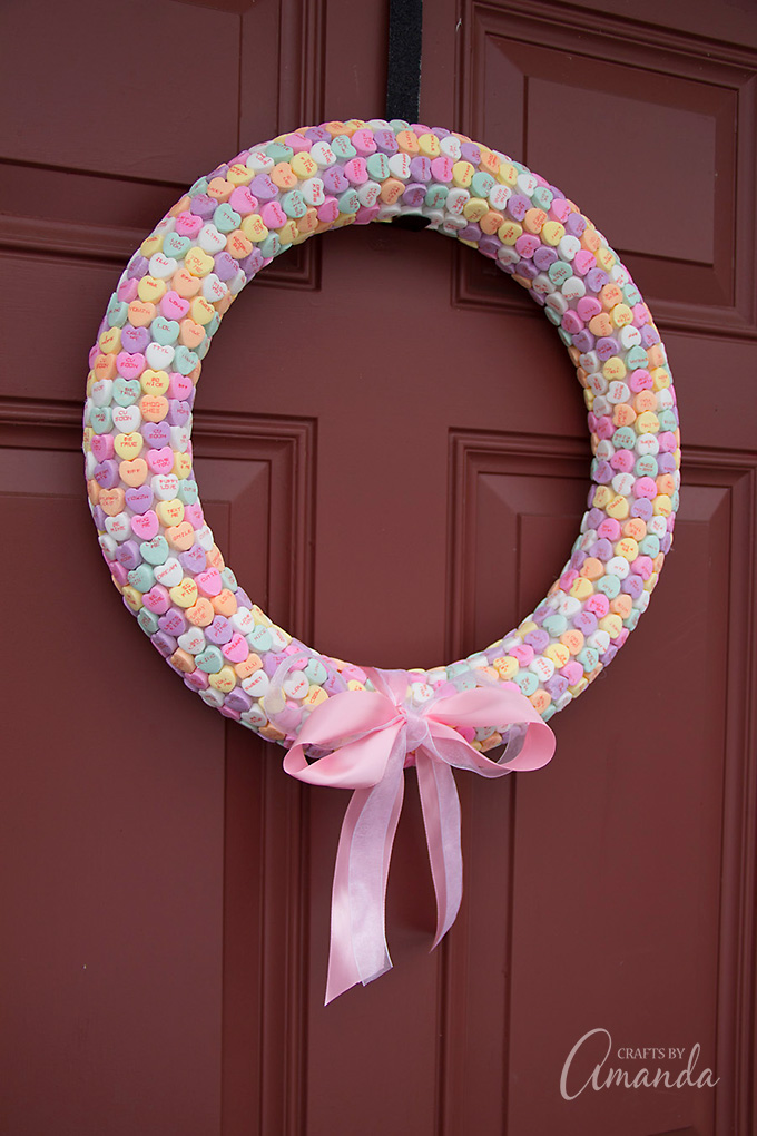 How sweet is the Conversation Heart Wreath?! Your door will look like such a treat.