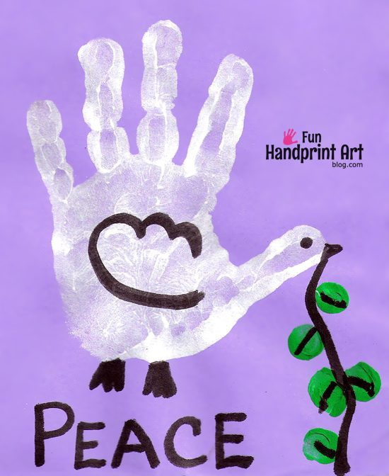 A handprint peace dove for MLK Day