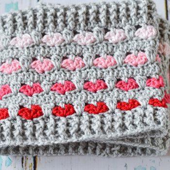 Crochet Heart Infinity Scarf