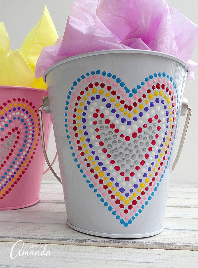 Treat your kids to some major sweets this Valentine's Day with these Heart Valentine Treat Buckets!