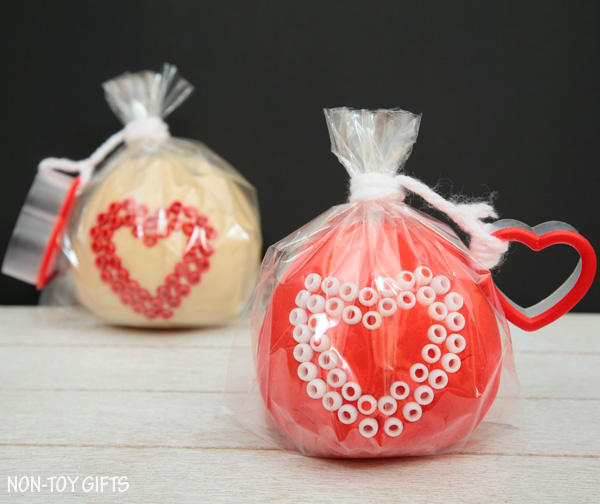 Play dough Valentines - a fun non-candy Valentine idea for kids
