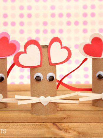 Cardboard Tube Valentine Mouse