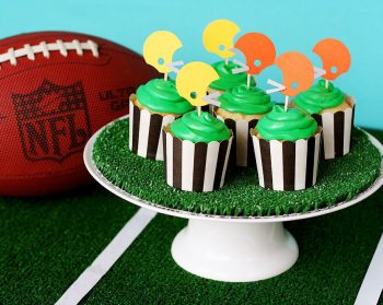 Super Bowl party helmet cupcake toppers