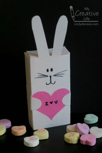 Turn a box of conversation hearts into a bunny for Valentine's Day