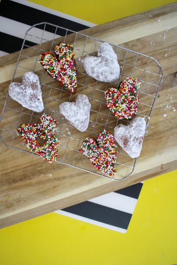 heart-shaped donuts made from refrigerated biscuits