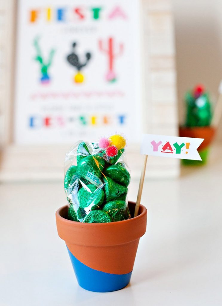 clay pot cactus party favor