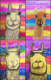Mixed media lllama project featuring the textiles of Peru