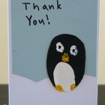 Fingerprint Penguin Thank You Cards