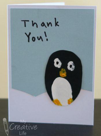 Fingerprint Penguin Thank You Cards