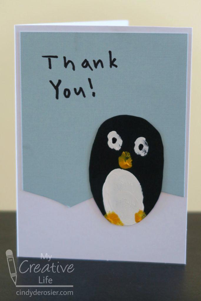 fingerprint penguin card or wall hanging