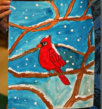 Winter Cardinal Painting