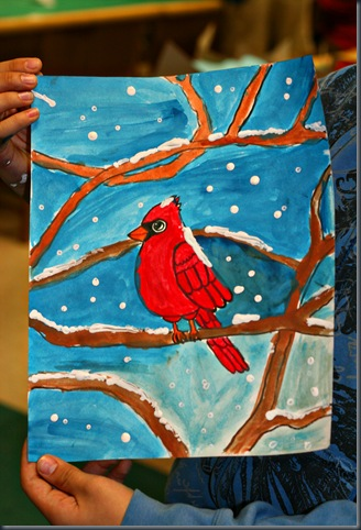 Paint beautiful cardinals for winter