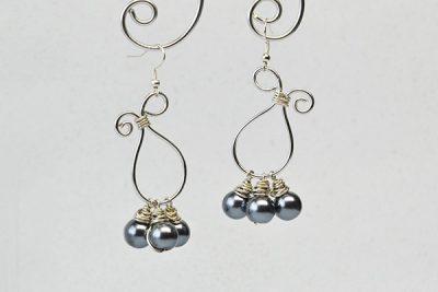 wire-wrapped dangling earrings