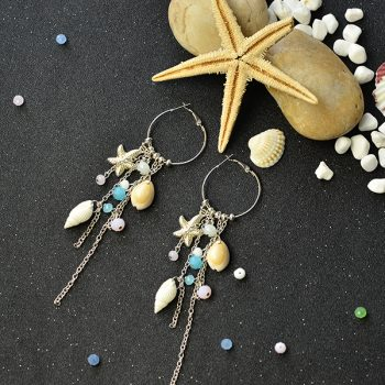 Beach-Inspired Tassel Hoop Earrings