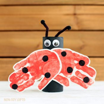 Cardboard Tube and Handprint Ladybug