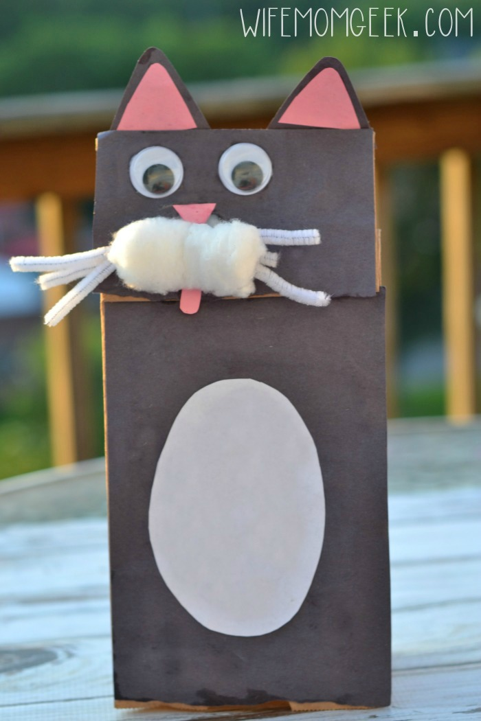 Cat Paper Bag Puppet Fun Family Crafts