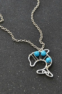 Wire Dolphin Pendant Necklace