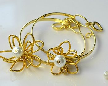 Wire-Wrapped Flower Bangle Bracelets