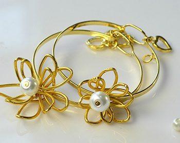 Wire-Wrapped Flower Bangle Bracelets