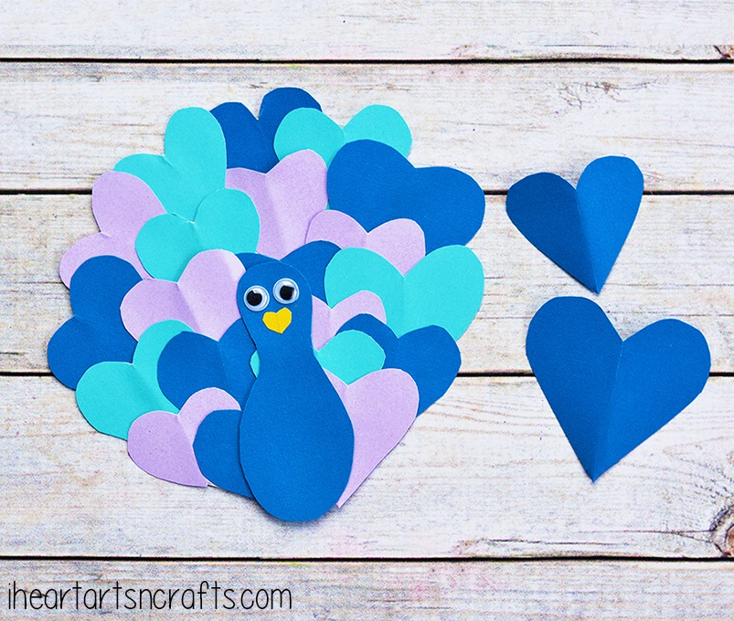Heart peacock fun family crafts for Art and craft for home decoration with paper