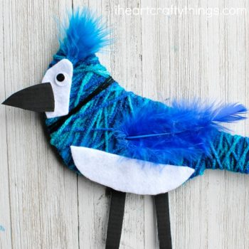Yarn-Wrapped Blue Jay