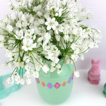Geometric Painted Flower Vase