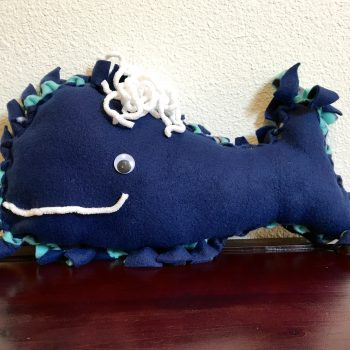 No-Sew Fleece Whale Pillow