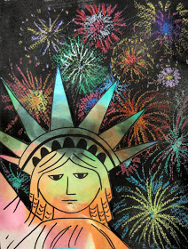 Statue of Liberty with Firecrackers
