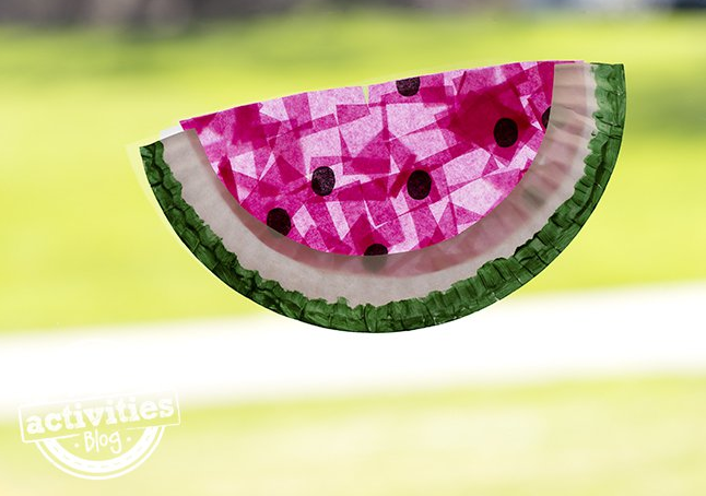 Paper Plate Watermelon Suncatcher Fun Family Crafts