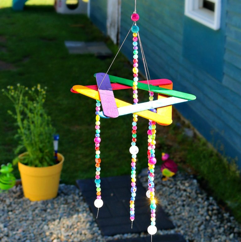 Beaded rainbow wind chime fun family crafts for Easy wind chimes