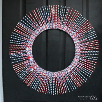 Patriotic Paper Straw Wreath