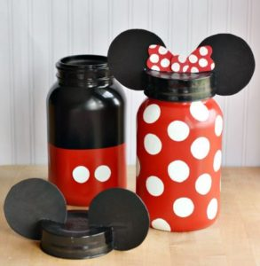 Mickey and Minnie Mason Jar Money Banks