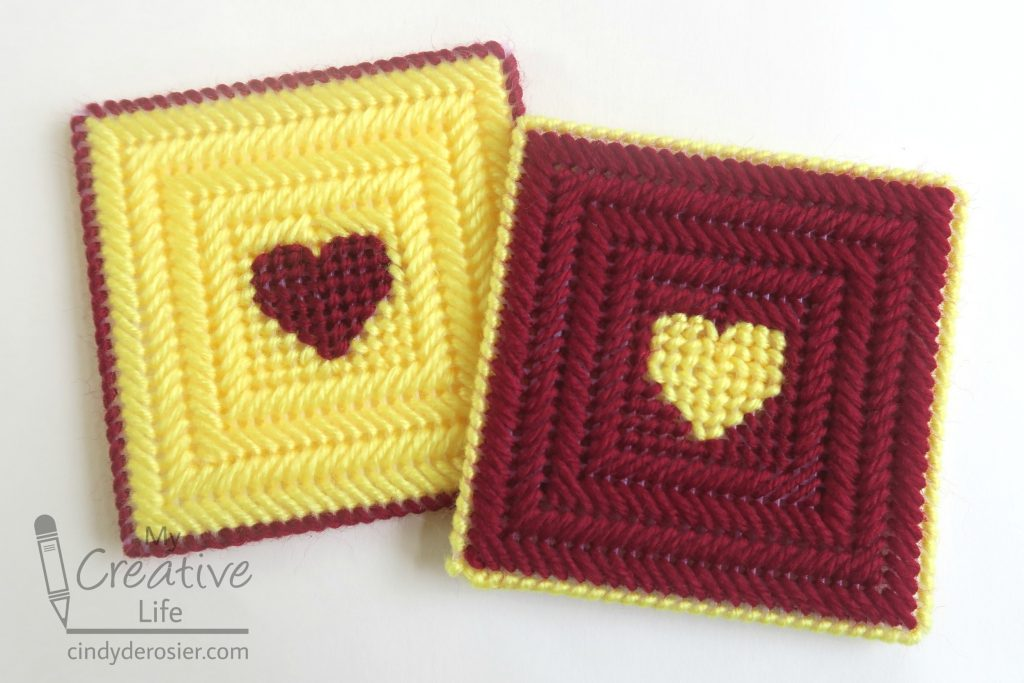 Plastic canvas heart coasters fun family crafts for Plastic canvas crafts for kids