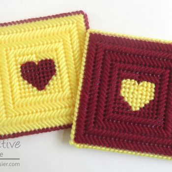 Plastic Canvas Heart Coasters