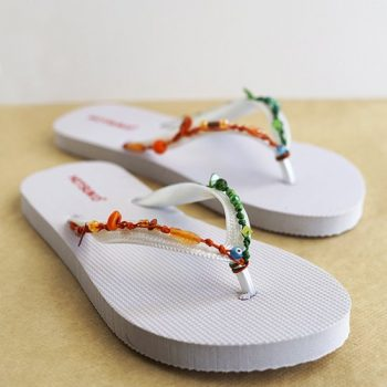 Colorful Beaded Flip Flops