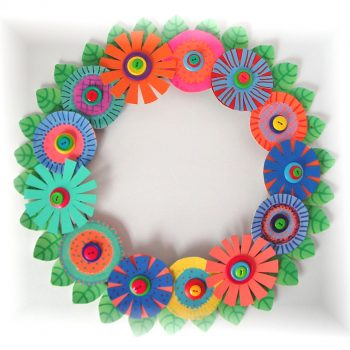 Cardboard Flower Power Wreath