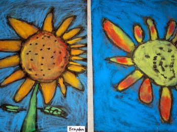 Chalk Pastel Sunflowers