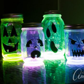 Glowing Jack O' Lantern Jars