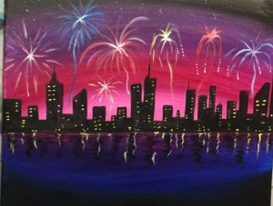 Cityscape Fireworks Painting