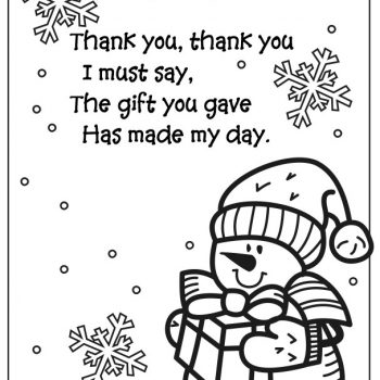Snowman Coloring Page Thank You