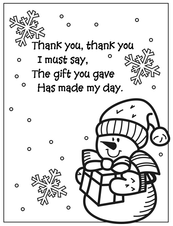Snowman Coloring Page Thank You Fun Family Crafts