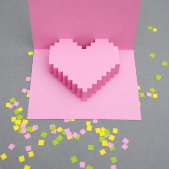Pixelated Heart Popup Card