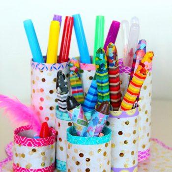 Cardboard Tube Pencil Organizer